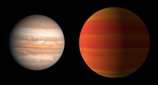 Porovnanie Jupitera a exoplanéty HAT-P-5b (umelecká predstava)